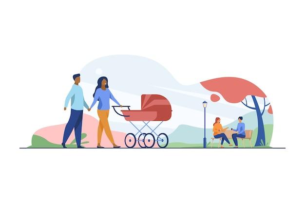 Glückliches paar, das im herbstpark mit buggy geht. kinderwagen, familie, baby flache vektor-illustration. wochenende und feiertag