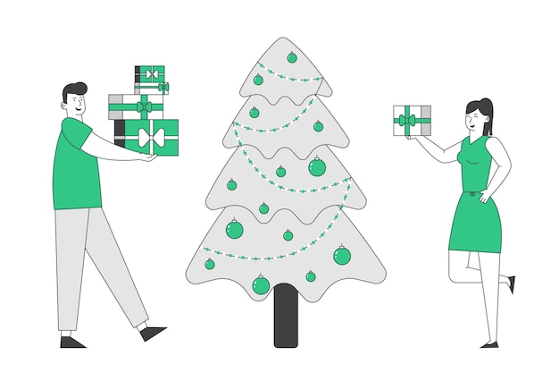Glückliches paar, das neujahr oder weihnachtsfeier feiert geschenke ändert
