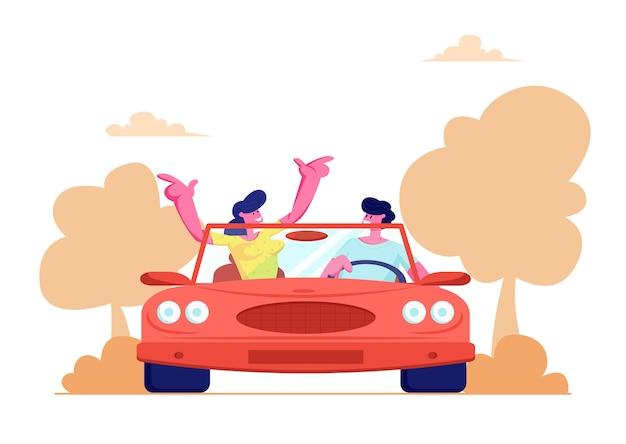 Glückliches paar, das rotes cabriolet-auto fährt Premium Vektoren