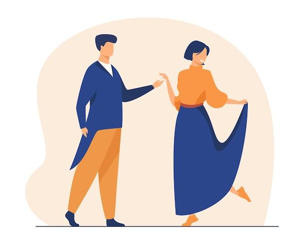 Glückliches paar, das zusammen tanzt. gesellschaftstanz, party, dating. karikaturillustration