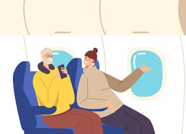 Glückliches paar fliegen mit dem flugzeug. familiencharaktere ehemann mit reisekissen und smartphone und ehefrau sitzen auf bequemen sesseln, kommunizieren und schauen im fenster. cartoon-menschen-vektor-illustration