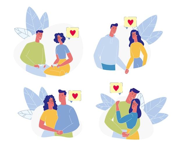 Glückliches paar freizeit. liebevoller mann frauentreffen