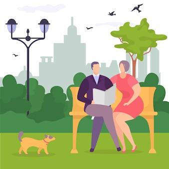 Glückliches paar im park auf bank, hund geht in der nähe, glücklicher junger mann und mädchen, design, karikaturartillustration.