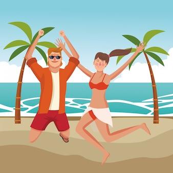 Glückliches paar in den sommerkarikaturen