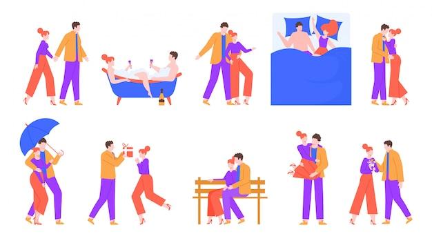 Glückliches paar in der liebe. liebespaar romantischen valentinstag feiern, umarmungen, küsse und restaurantvorschlag. glücklicher liebender freund und freundin illustrationssatz. liebhaber aus charakteren