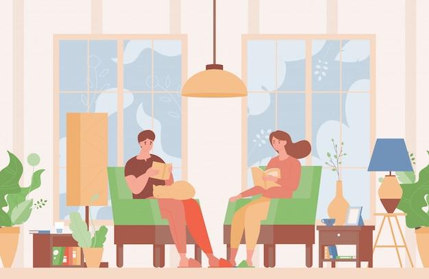 Glückliches paar in häuslicher kleidung, die in bequemen sesseln sitzt und bücher flache illustration liest.