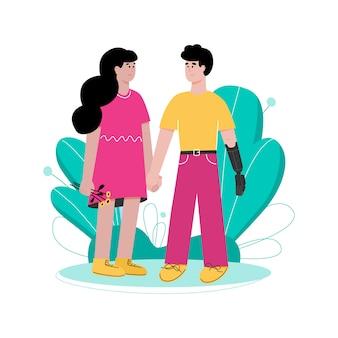 Glückliches paar mit behindertem partner, flache karikaturillustration lokalisiert.