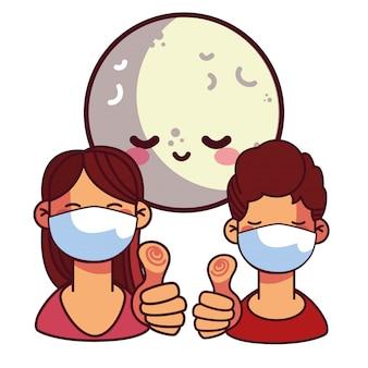 Glückliches paar mit maske in der nacht
