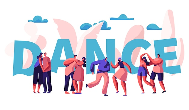 Glückliches paar tanzt zusammen typografie-banner. männlicher und weiblicher charakter, der romantisch tanzt. menschen flirt hug cuddle poster design. flache karikatur-vektor-illustration der romantischen aktivität