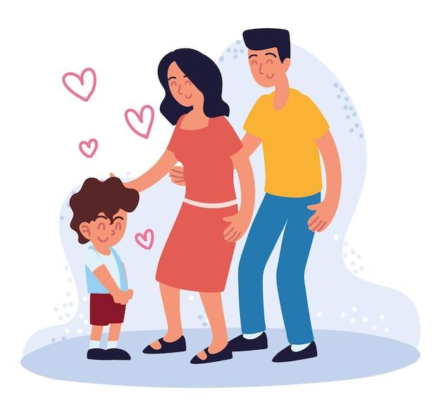 Glückliches paar und adoptierter junge