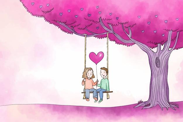 Glückliches paar unter baumvalentinsgrußhintergrund