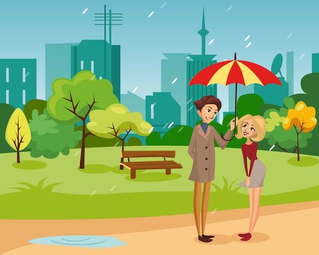 Glückliches paar unter einem großen gestreiften regenschirm, der im park, regenwetterkonzeptkarikaturillustration geht