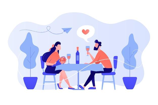 Glückliches paar verliebt in romantisches date, das am tisch sitzt und wein trinkt, winzige leute. romantisches date, romantische beziehung, liebesgeschichtenkonzept. isolierte illustration des rosa korallenblauvektors