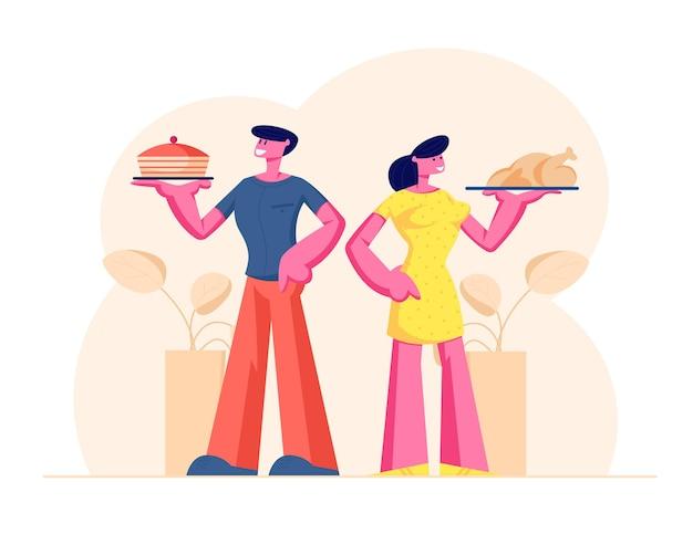 Glückliches paar von männlichen und weiblichen charakteren, die tabletts mit home food bakery cake und gebratenem huhn halten. karikatur flache illustration