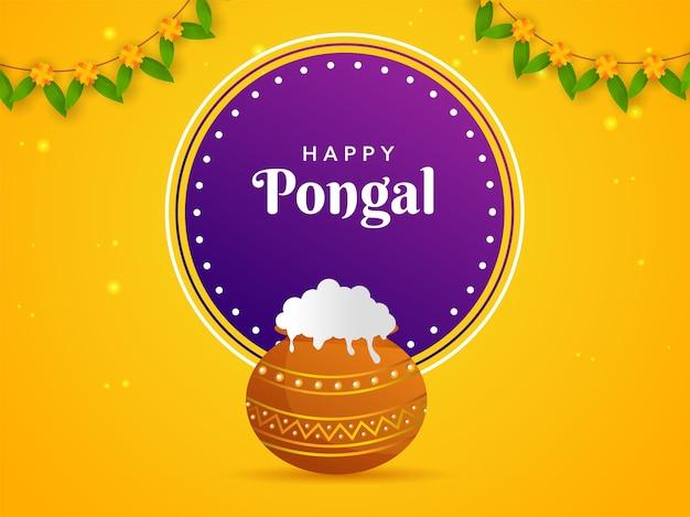 Glückliches pongal-feier-plakat-design mit traditionellem gericht im schlammtopf