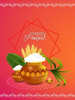 Glückliches pongal indisches festivalplakat