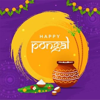 Glückliches pongal-konzept mit pongali-reis im schlammtopf