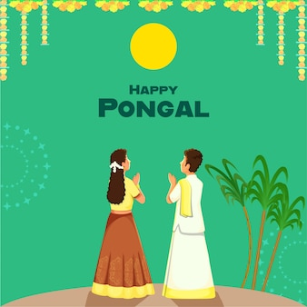 Glückliches pongal-plakat-design mit südindischem jungen und mädchen, die surya (sonne) tun