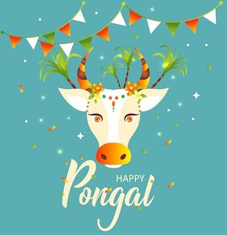 Glückliches pongal. verzierte kuh und reis im traditionellen topf. grußkarte für indisches festival