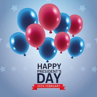 Glückliches präsidententagesplakat mit ballonhelium