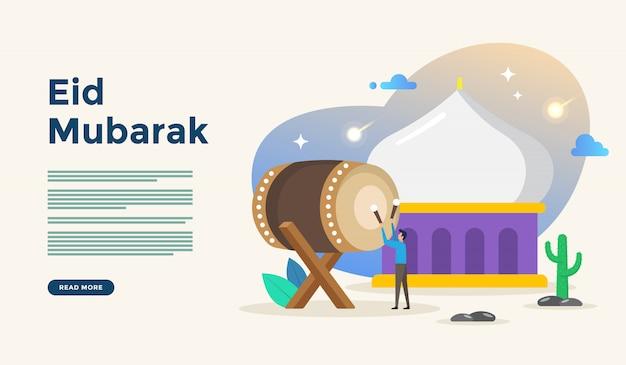 Glückliches ramadan-kareem grußkonzept mit leutecharakter für netzlandungsseitenschablone