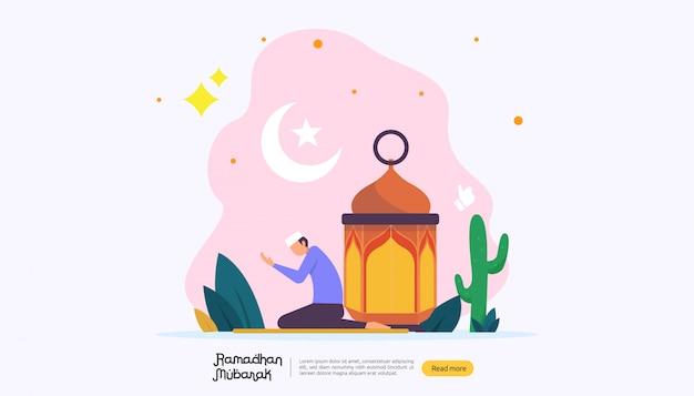 Glückliches ramadan mubarak-grußkonzept mit leutecharakter