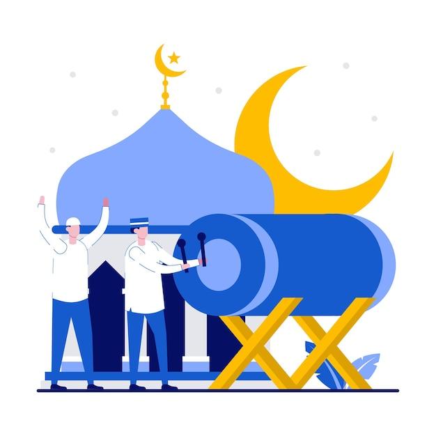 Glückliches ramadan-mubarak-grußkonzept mit winzigen leuten