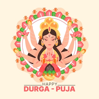 Glückliches religiöses durga-puja-konzept