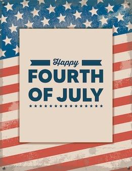 Glückliches retroplakat des vierten juli