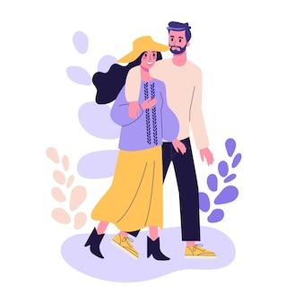 Glückliches romantisches paar, das geht. mann und frau am datum, romantische beziehung. illustration im cartoon-stil