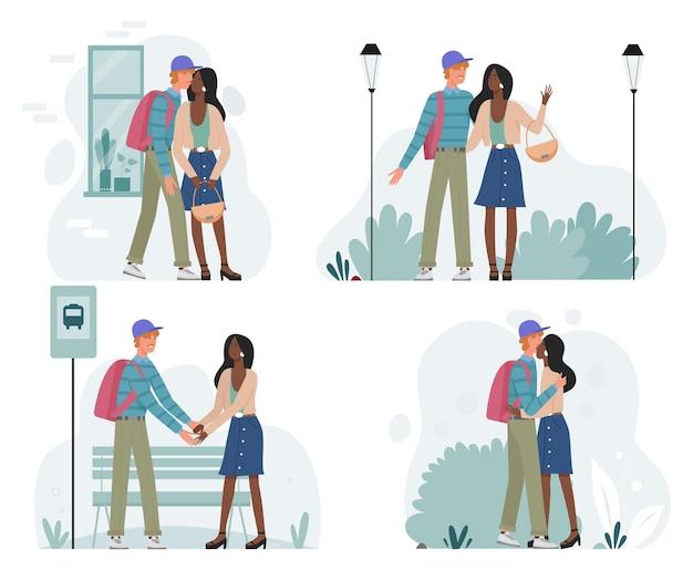 Glückliches romantisches paar, das zusammen auf datumsvektorillustrationssatz geht. karikatur junger mann frau charaktere aus, liebhaber treffen kuss grüßen oder auf wiedersehen sagen.