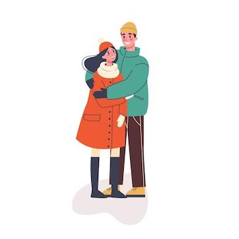 Glückliches romantisches paar in der warmen kleidung stehend. mann und frau am datum, romantische beziehung. illustration im cartoon-stil