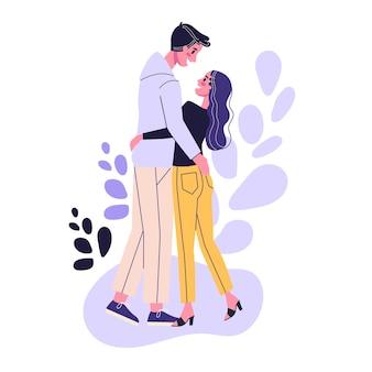Glückliches romantisches paar stehend. mann und frau am datum, romantische beziehung. illustration im cartoon-stil