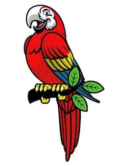 Glückliches scarlett-ara-maskottchen-logo