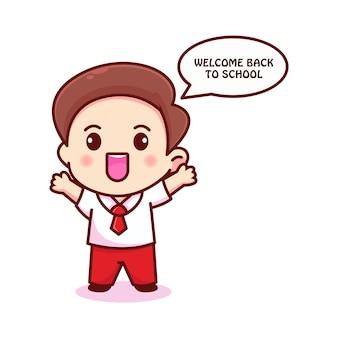 Glückliches schüler-charakter-logo für willkommen zurück in der schule
