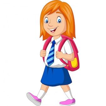 Glückliches schulmädchen der karikatur in tragendem rucksack der uniform