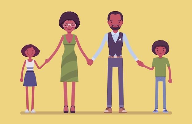 Glückliches schwarzes familienporträt