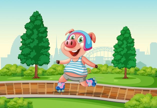 Glückliches schwein, das rollschuh am park spielt