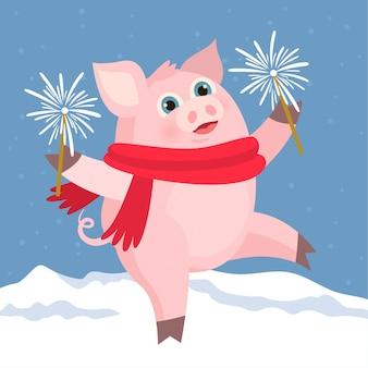 Glückliches schwein mit feuerwerk