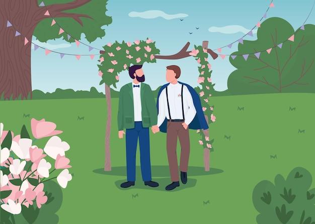 Glückliches schwules paar am hochzeitstag flache illustration. hochzeitszeremonie im boho-stil. neu verheiratete ehemänner, die handkarikaturfiguren mit landschaft auf hintergrund halten