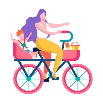 Glückliches sohn-mutterradfahren motivieren gesunde fahne