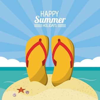 Glückliches sommerferienplakat. flip flops strand sand ozean sonnenlicht