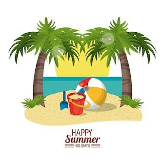 Glückliches sommerferienplakat