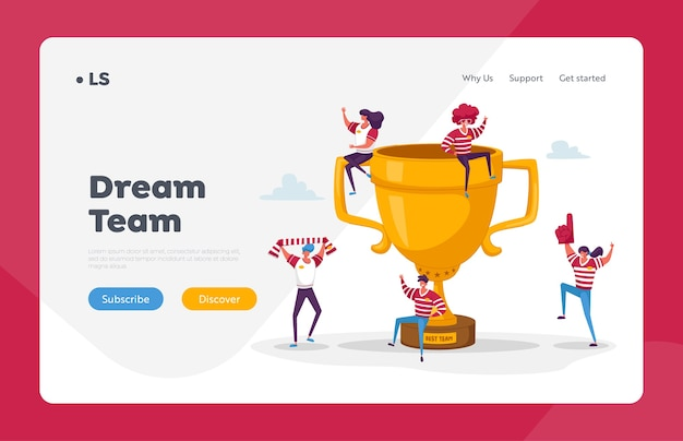 Glückliches sportteam feiern sie sieg und erfolg landing page template