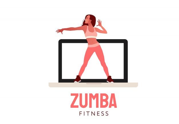 Glückliches springendes tanzendes mädchen. fernes sporttraining. frau, die auf laptop-bildschirmillustration tanzt. aerober fitnesstanz.