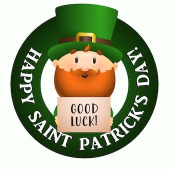 Glückliches st. patricks day, good luck-schriftzug mit kobold