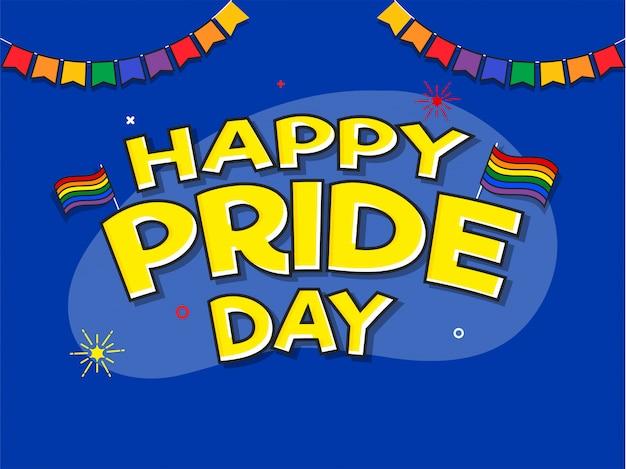 Glückliches stolz-tageskonzept mit regenbogen färbt flaggensymbol der freiheit.