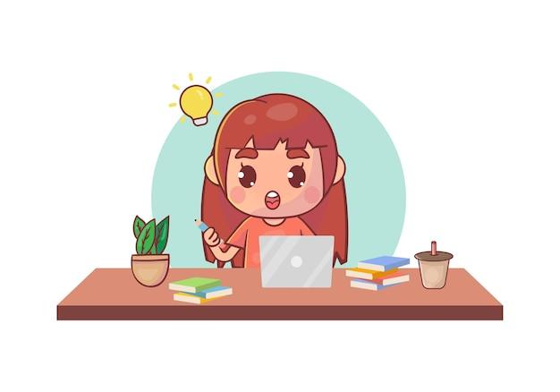 Glückliches süßes kleines kind macht heimschule mit einem computer-laptop, um e-learning-kurse zu studieren.