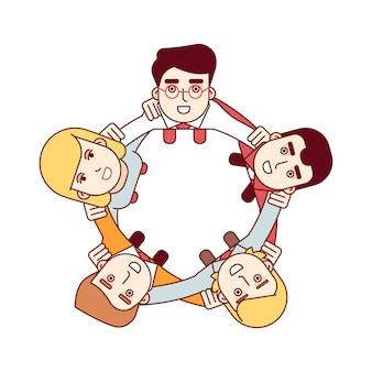 Glückliches teamwork-konzept. luftaufnahmen