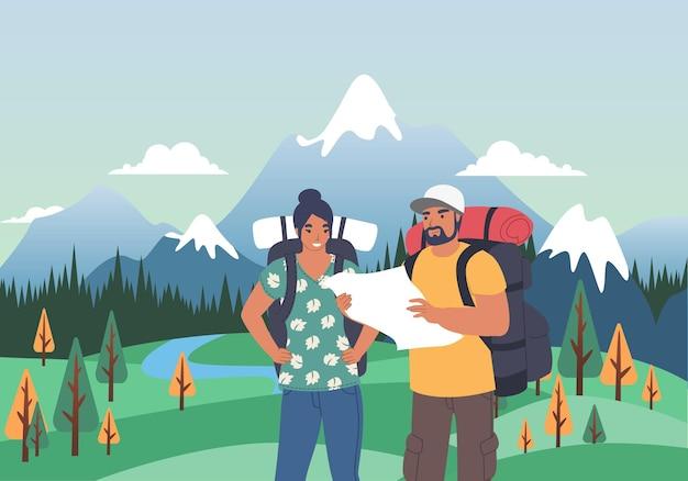 Glückliches touristisches paar mit rucksäcken, das karte flache vektorillustration betrachtet sommertourismus wandert tr...